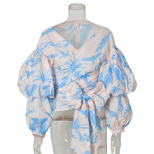 Flash-Print V Tie With Irregular Pendant Sleeved Snow Spinning Shirt