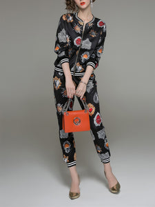 Fashion Printed Long Sleeved Shirt Pants Set black 2xl