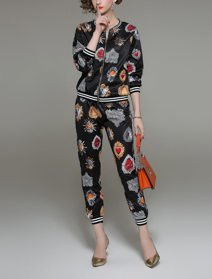 Fashion Printed Long Sleeved Shirt Pants Set black l