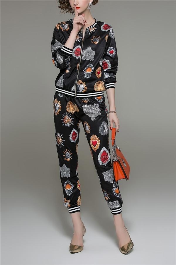 Fashion Printed Long Sleeved Shirt Pants Set black m