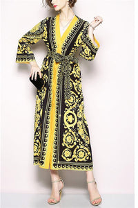 Retro V-Collar Court Print Leopard Lace Loose Dress yellow m