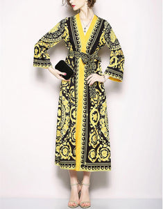 Retro V-Collar Court Print Leopard Lace Loose Dress yellow l