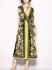 Retro V-Collar Court Print Leopard Lace Loose Dress yellow xl