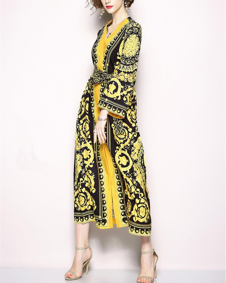 Retro V-Collar Court Print Leopard Lace Loose Dress yellow 2xl