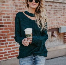 Green Long-Sleeved Knitted Sweater