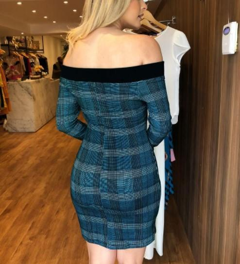 Sexy Shoulder Emblem Bodycon Dresses blue xl
