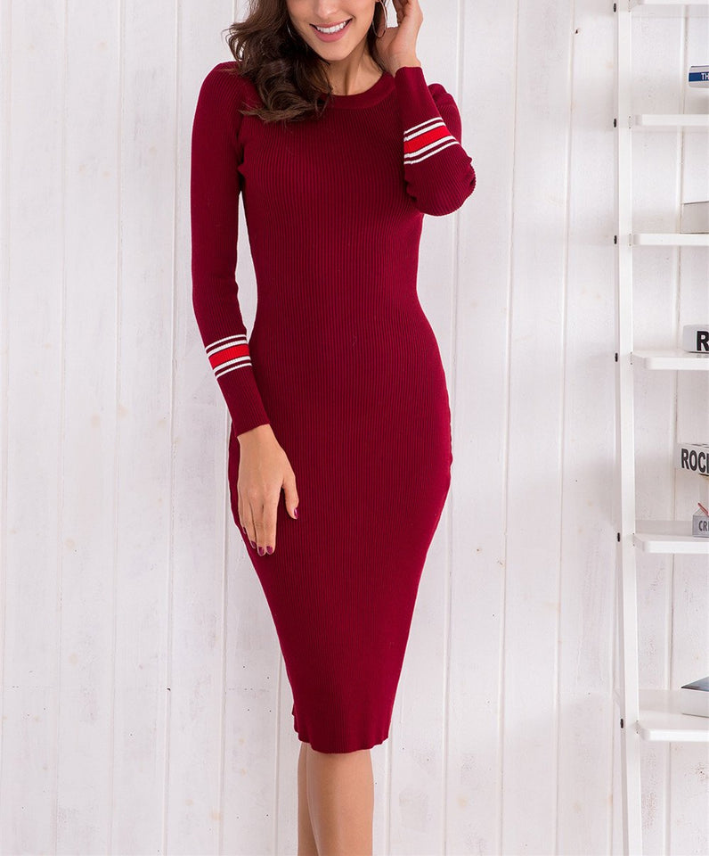 Sexy Body Long Sleeve Knitting Bodycon Dresses royal_blue one size