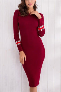 Sexy Body Long Sleeve Knitting Bodycon Dresses date_red one size