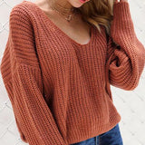 Fashion V-Neck Back Lace Up Bat Sleeve Sweater orange_red xl