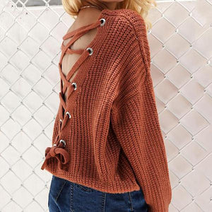 Fashion V-Neck Back Lace Up Bat Sleeve Sweater orange_red l