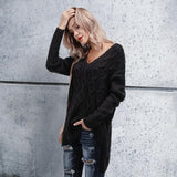 Chic Casual Loose Plain V Collar Long Sleeve Thermal Sweaters black l