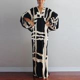Fashion V Neck  Printed Colour Long Sleeve Maxi Dresses black m