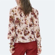 Sweet High Collar Printed Chiffon Shirt