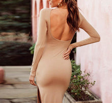 Long Sleeved Back Colored Pure Split Dress