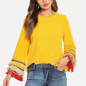 Fashion Tassels Long Sleeve Plain Shirts Yellow l