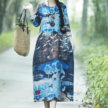 Casual Round Collar Printed Colour Loose Maxi Dress