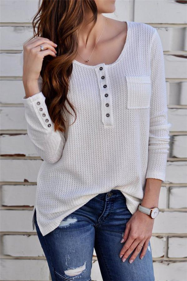 Solid Color Long-Sleeved Button T-Shirt white s
