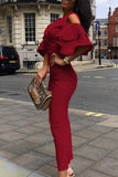 V Neck  Flounce  Plain  Half Sleeve Maxi Dresses claret_red s