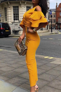 V Neck  Flounce  Plain  Half Sleeve Maxi Dresses yellow s