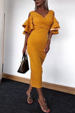 V Neck  Flounce  Plain  Half Sleeve Maxi Dresses yellow xs