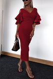 V Neck  Flounce  Plain  Half Sleeve Maxi Dresses claret_red xs