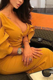 V Neck  Flounce  Plain  Half Sleeve Maxi Dresses yellow xl