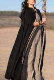 Costume Chic Noble Loose Plain Long Cape Cardigan gray one size