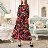 Fashion Round Neck Print Maxi Dress red l