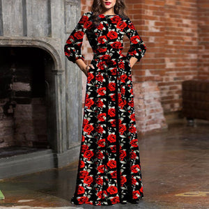 Fashion Round Neck Print Maxi Dress red m