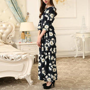 Fashion Round Neck Print Maxi Dress black m
