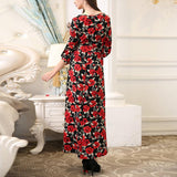 Fashion Round Neck Print Maxi Dress red xl