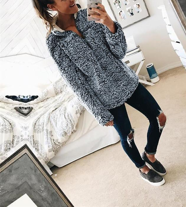 A Stylish High-Collar Long-Sleeved Zipper Sweaters silver l