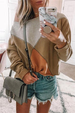 Fashion Round Collar Long Sleeve Splice Shoulder Top