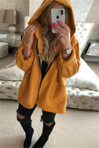 Fashion Hat Zipper Pocket Long Sleeve Jacket yellow s