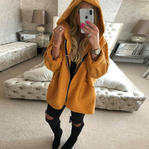 Fashion Hat Zipper Pocket Long Sleeve Jacket yellow m