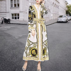 Elegant Noble Chic Slim Print V Collar Lace-Up Waistband Long Sleeve Maxi Dress same_as_photo 2xl