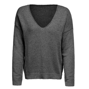 V Neck Long Sleeve Plain Knitting Sweaters Dark Grey s