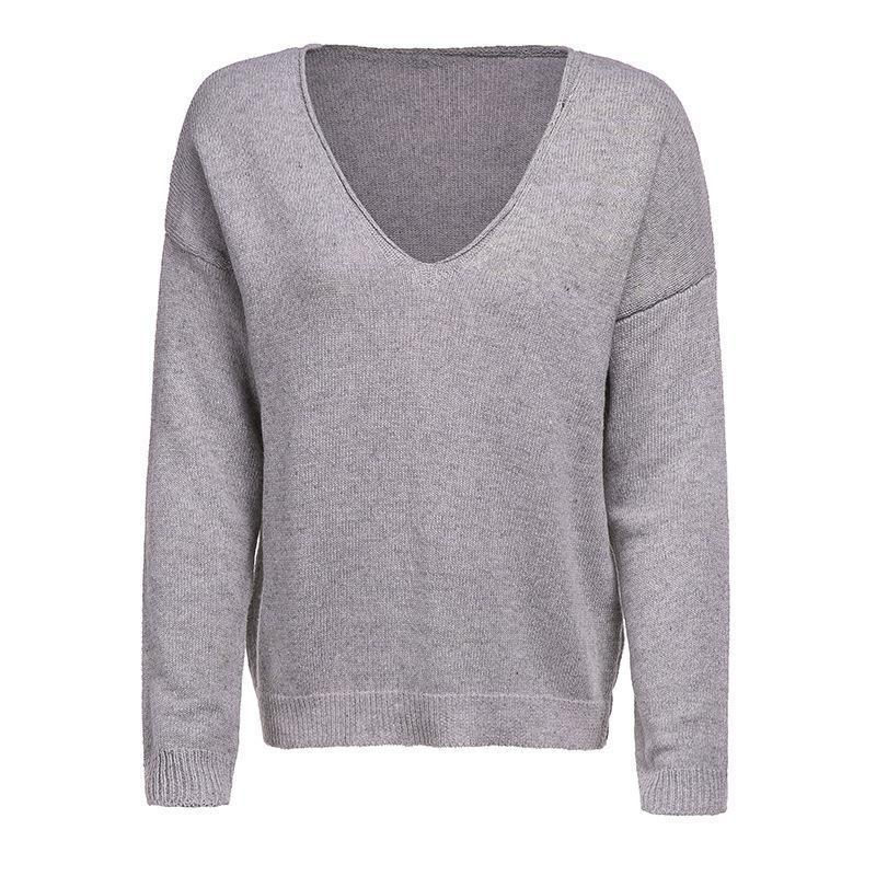 V Neck Long Sleeve Plain Knitting Sweaters Light Gray m