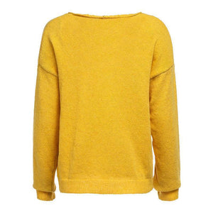V Neck Long Sleeve Plain Knitting Sweaters Yellow xl