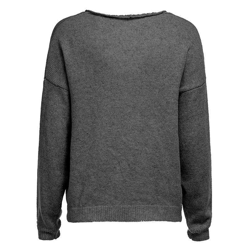 V Neck Long Sleeve Plain Knitting Sweaters Dark Grey m