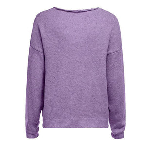 V Neck Long Sleeve Plain Knitting Sweaters Purple xl