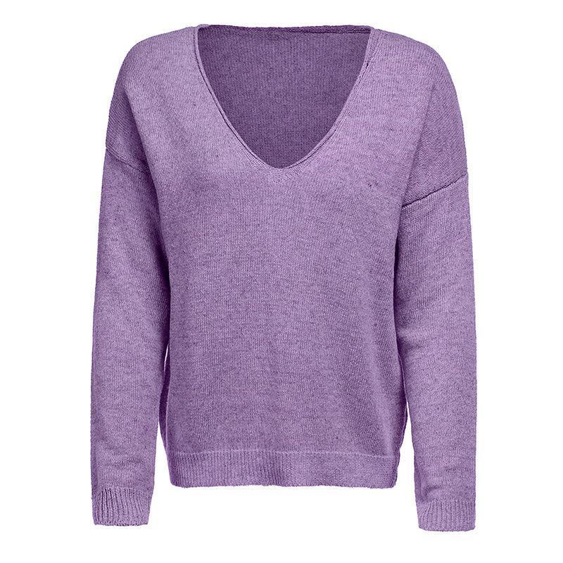 V Neck Long Sleeve Plain Knitting Sweaters Purple l