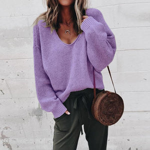 V Neck Long Sleeve Plain Knitting Sweaters Purple m