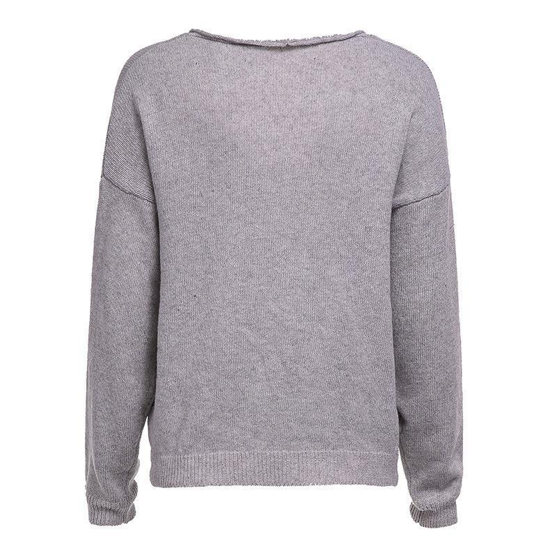 V Neck Long Sleeve Plain Knitting Sweaters Light Gray l