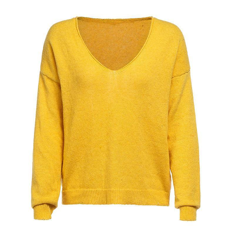 V Neck Long Sleeve Plain Knitting Sweaters Yellow l