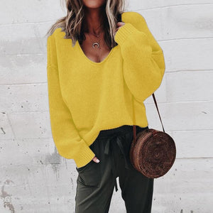 V Neck Long Sleeve Plain Knitting Sweaters Yellow m