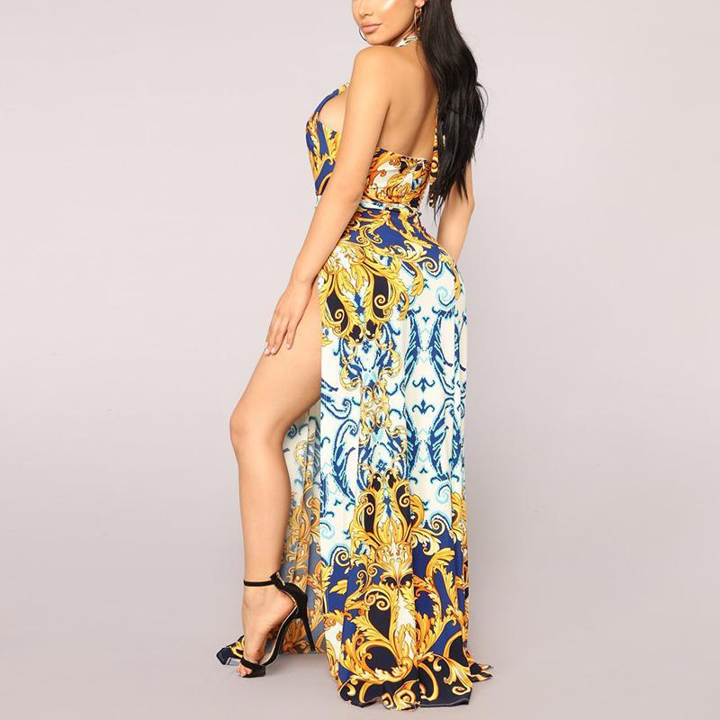 Sexy Golden Floral Print Maxi Dress gold xl