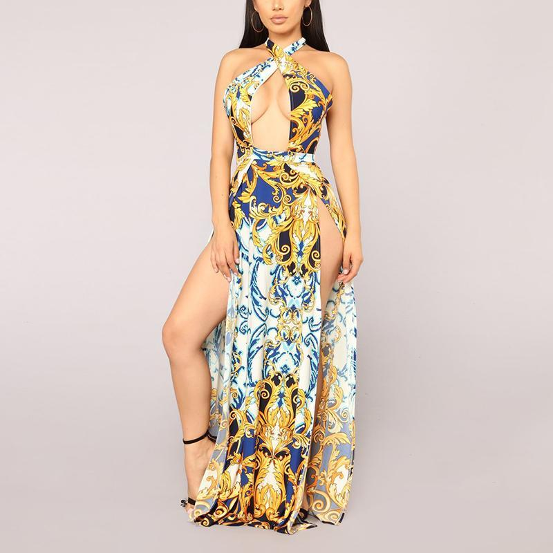Sexy Golden Floral Print Maxi Dress gold m