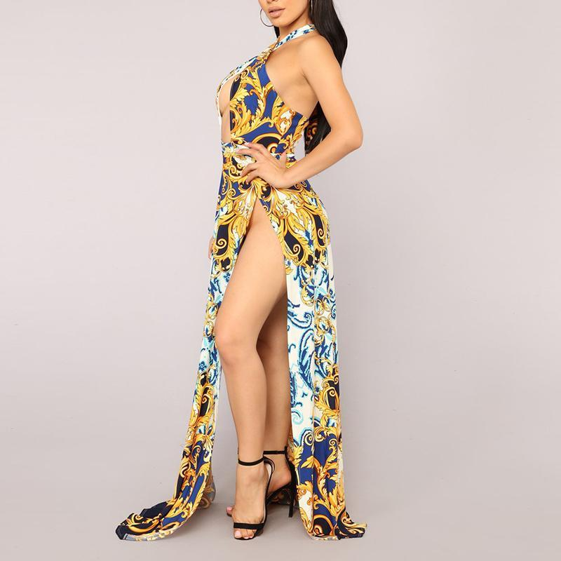 Sexy Golden Floral Print Maxi Dress gold l