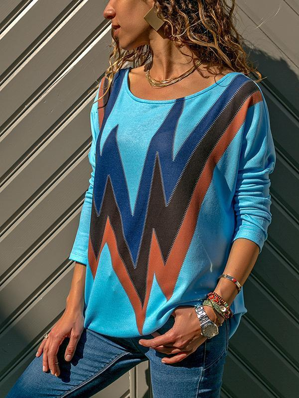 Fashion Wave Pattern Long Sleeve T-Shirt same_as_photo m